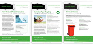 3 x flyers. The Paper Company